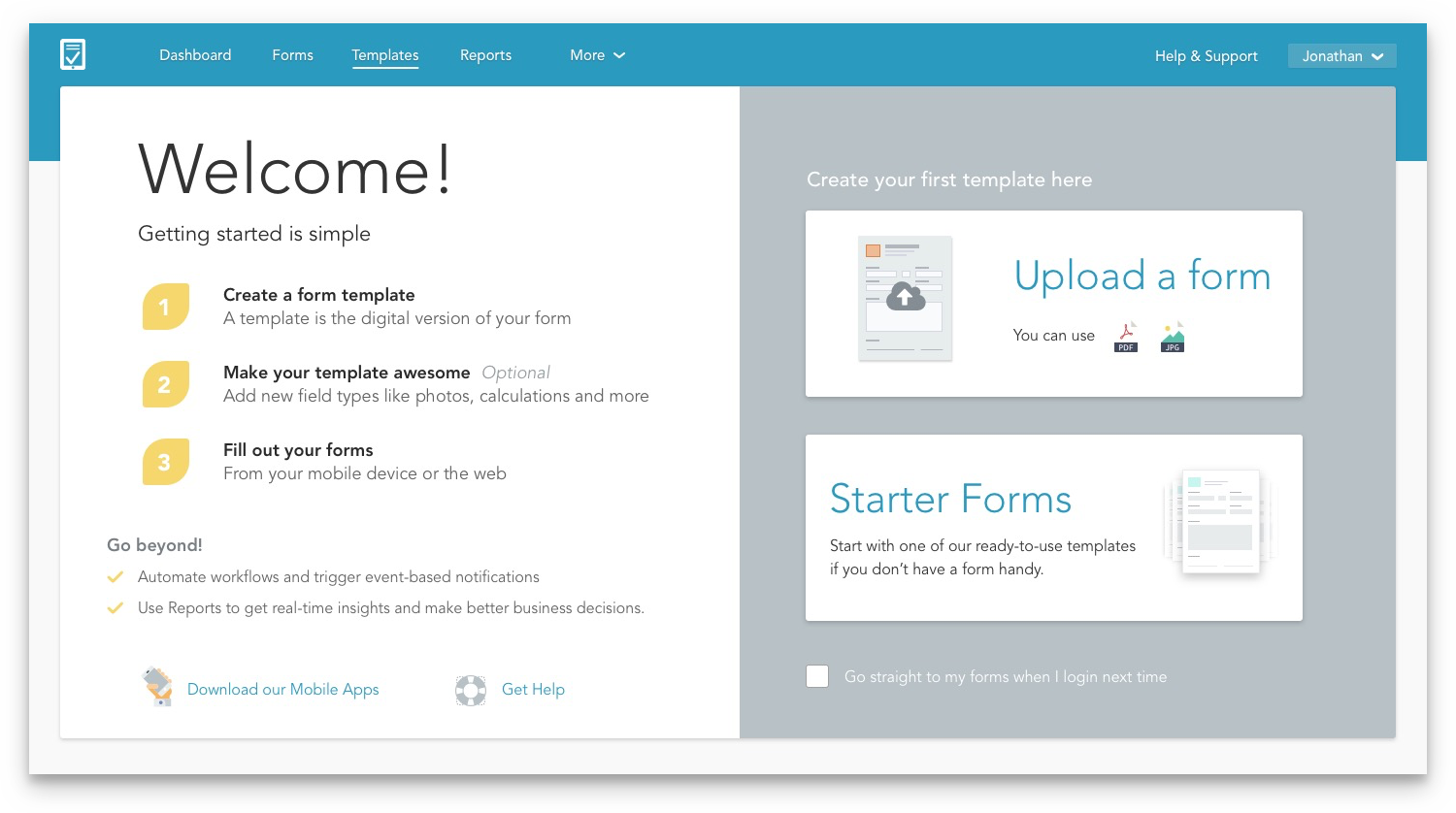 GoFormz new Welcome page inside the web app